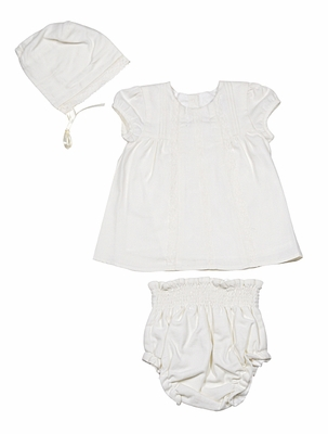 Luli & Me Layette Baby Girls Ivory Crochet Lace Dress with Bonnet and Smocked Panty