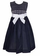 Luli & Me Navy Blue Organdy Sleeveless Dress - Smocked Bodice - White Bow at Waist