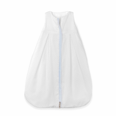 Lulla Smith Wearable Blanket Sleep Sack - White Dotted Swiss with Blue Trim