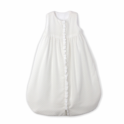 Lulla Smith Wearable Baby Blanket Sleep Sack - White Dotted Swiss with Plain White Trim