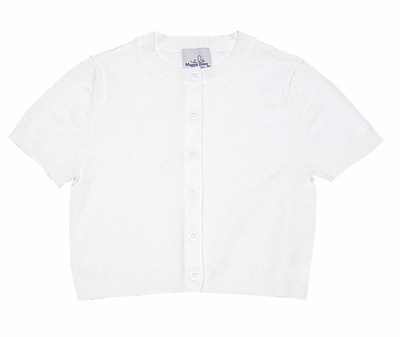 Maggie Breen by Funtasia Girls Short Sleeved White Cardigan Sweater