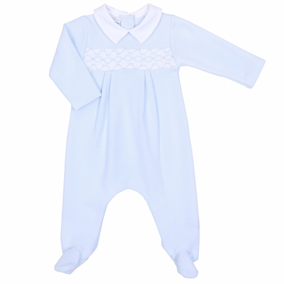 Magnolia Baby Aiden and Ava Smocked Footie - Light Blue