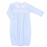 Magnolia Baby Aiden and Ava Smocked Gown - Light Blue