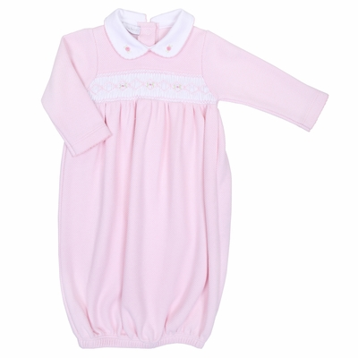 Magnolia Baby Aiden and Ava Smocked Gown - Pink