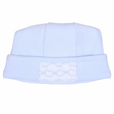 Magnolia Baby Aiden and Ava Smocked Hat - Light Blue