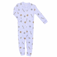 Magnolia Baby Boys All Star Baby Sports Zipped Pajamas - Light Blue