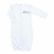 Magnolia Baby Boys Animal Train Embroidered Converter Gown - Blue