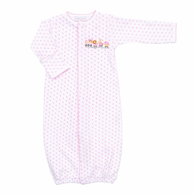 Magnolia Baby Girls Animal Train Embroidered Converter Gown - Pink