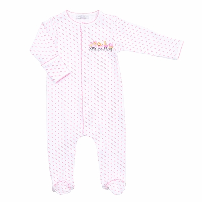 Magnolia Baby Girls Animal Train Embroidered Footie - Pink