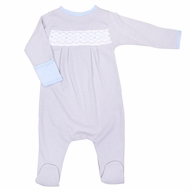 Magnolia Baby Boys Basically Sweet Smocked Footie - Gray & Light Blue
