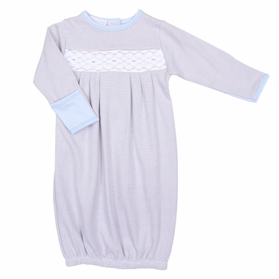 Magnolia Baby Boys Basically Sweet Smocked Gown - Gray & Light Blue