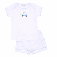 Magnolia Baby Boys Blue Tee Time Golf Cart Short Set