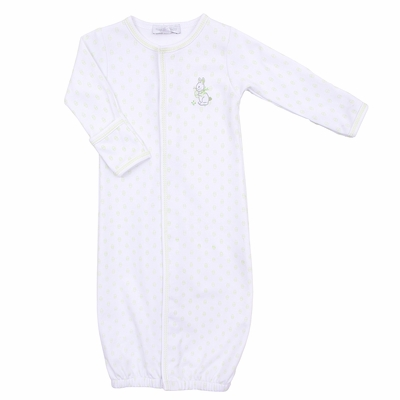 Magnolia Baby Boys / Girls Celery Green Bunny's Easter Egg Hunt Embroidered Converter Gown
