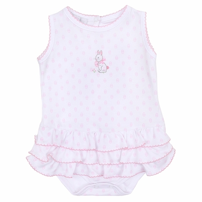 Magnolia Baby Girls Pink Easter Bunny's Egg Hunt Embroidered Bubble