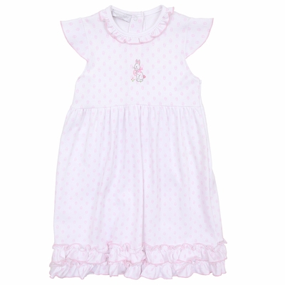 Magnolia Baby Girls Pink Easter Bunny's Egg Hunt Embroidered Dress
