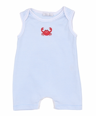Magnolia Baby Boys Blue Striped Classic Crab Embroidered Sleeveless Playsuit