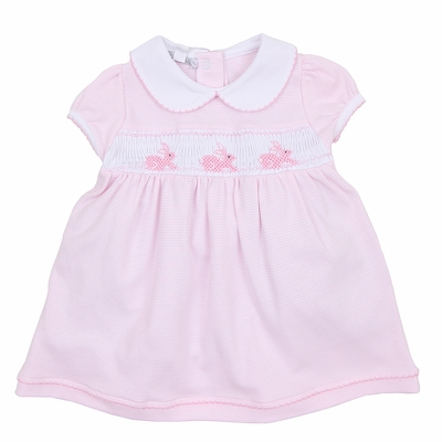 Magnolia Baby Girls Classic Little Bunny Smocked Collared Dress - Pink