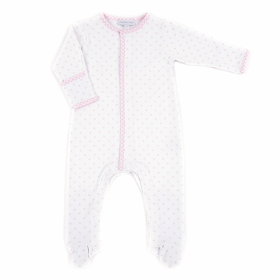 Magnolia Baby Infant Girls Gingham Trim Pink Dots Footie
