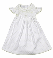 Magnolia Baby Girls Isabella's Classics White / Green Dots Smocked Bishop Dress Set