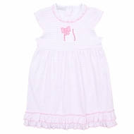 Magnolia Baby Girls Little Slugger Pink Baseball Applique Dress
