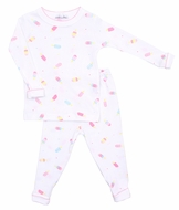 Magnolia Baby Girls Pink Cool Treats Print Long Pajamas