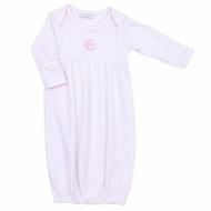 Magnolia Baby Girls Pink Vintage Elephant Embroidered Gown