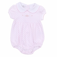 Magnolia Baby Girls Pink Hope's Rose Spring Embroidered Collared Bubble