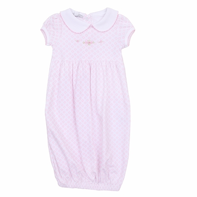 Magnolia Baby Girls Pink Hope's Rose Spring Embroidered Collared Gown