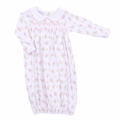 Magnolia Baby Pink Floral Hope's Rose Spring Printed Smocked Gown