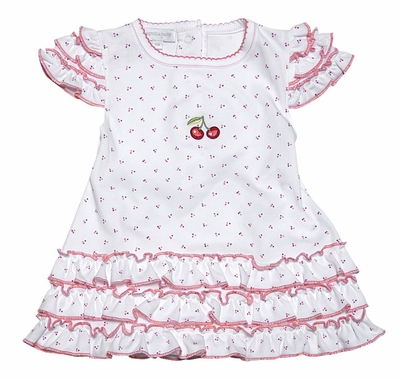Magnolia Baby Infant Girls White / Red Cherry Dress with Bloomers