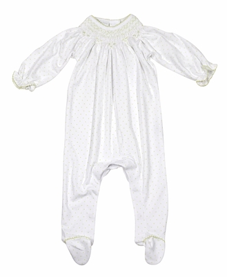 Magnolia Baby Girls Isabella's Classics White / Green Dots Smocked Footie