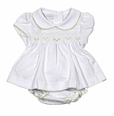 Magnolia Baby Girls White / Green Dots Isabella's Classics Bloomers Set - Smocked in Green