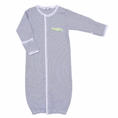 Magnolia Baby Boys Navy Blue Later Gator Embroidered Converter Gown