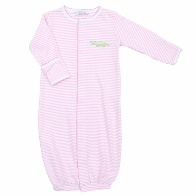 Magnolia Baby Girls Pink Later Gator Embroidered Converter Gown