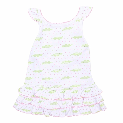 Magnolia Baby Girls Pink / Green Later Gator Printed Sleeveless Dress Set