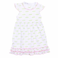 Magnolia Baby Girls Pink / Green Later Gator Printed Dress