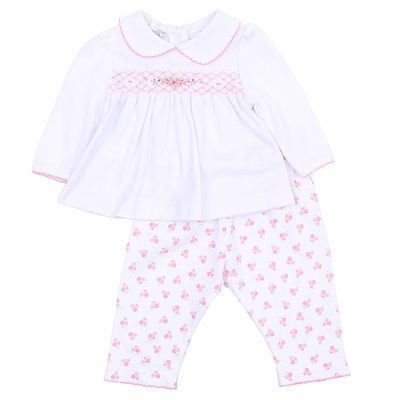 Magnolia Baby Girls Layla's Classics Pink Floral Smocked Collared Pant Set