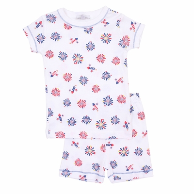 Magnolia Baby Little Boys / Girls Patriotic Firecrackers Print Short Pajamas