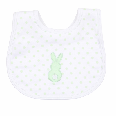 Magnolia Baby Boys / Girls Little Peeps Applique Easter Bunny Bib - Green