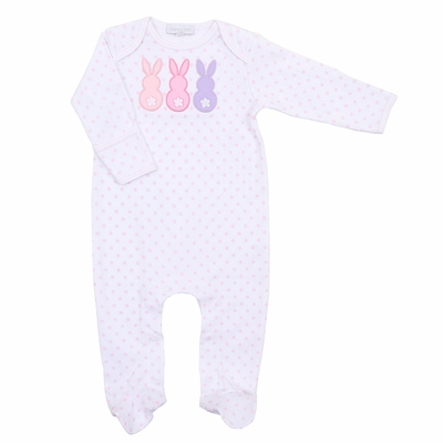 Magnolia Baby Girls Little Peeps Applique Easter Bunny Footie - Pink