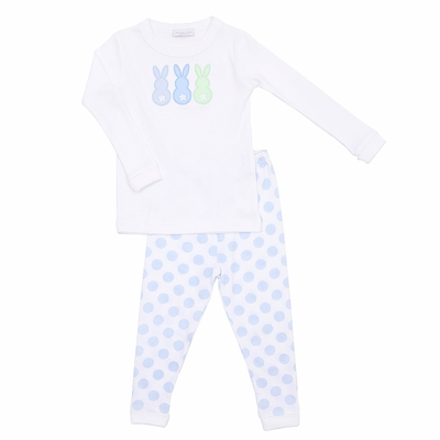 Magnolia Baby Boys Little Peeps Applique Easter Bunny Long Pajamas - Blue