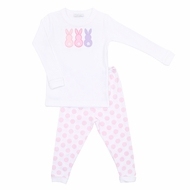 Magnolia Baby Girls Little Peeps Applique Easter Bunnies Long Pajamas - Pink