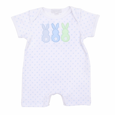 Magnolia Baby Boys Little Peeps Applique Easter Bunny Playsuit - Blue