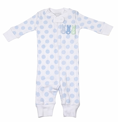 Magnolia Baby / Toddler Boys Little Peeps Easter Bunny Zip Pajamas - Blue Dots