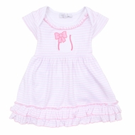 Magnolia Baby Infant Girls Pink Little Slugger Baseball Applique Dress Set