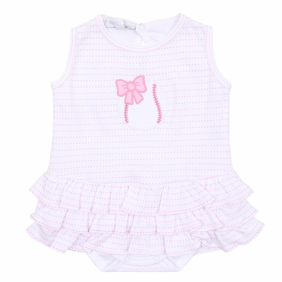 Magnolia Baby Infant Girls Pink Little Slugger Baseball Applique Bubble