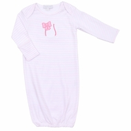 Magnolia Baby Infant Girls Pink Little Slugger Baseball Applique Gown