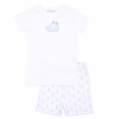 Magnolia Baby / Toddler Boys Little Blue Whale Applique Short Pajamas