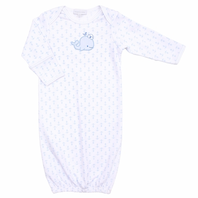 Magnolia Baby Boys Blue Little Whales Applique Gown