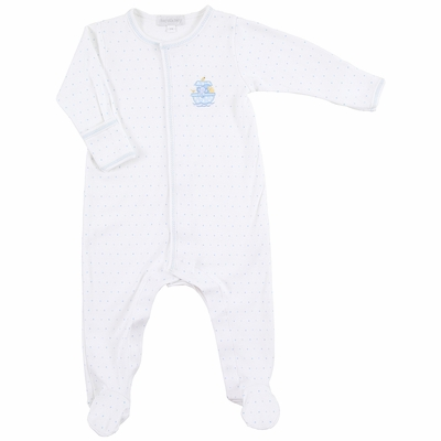 Magnolia Baby Boys Noah's Friends Embroidered Footie - Blue
